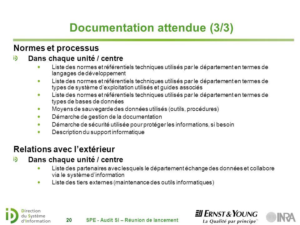 Documentation attendue (3/3)