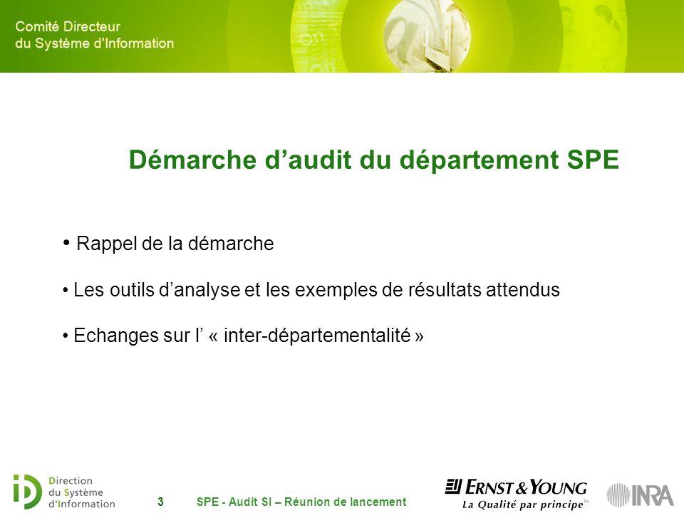 Démarche d'audit du département SPE