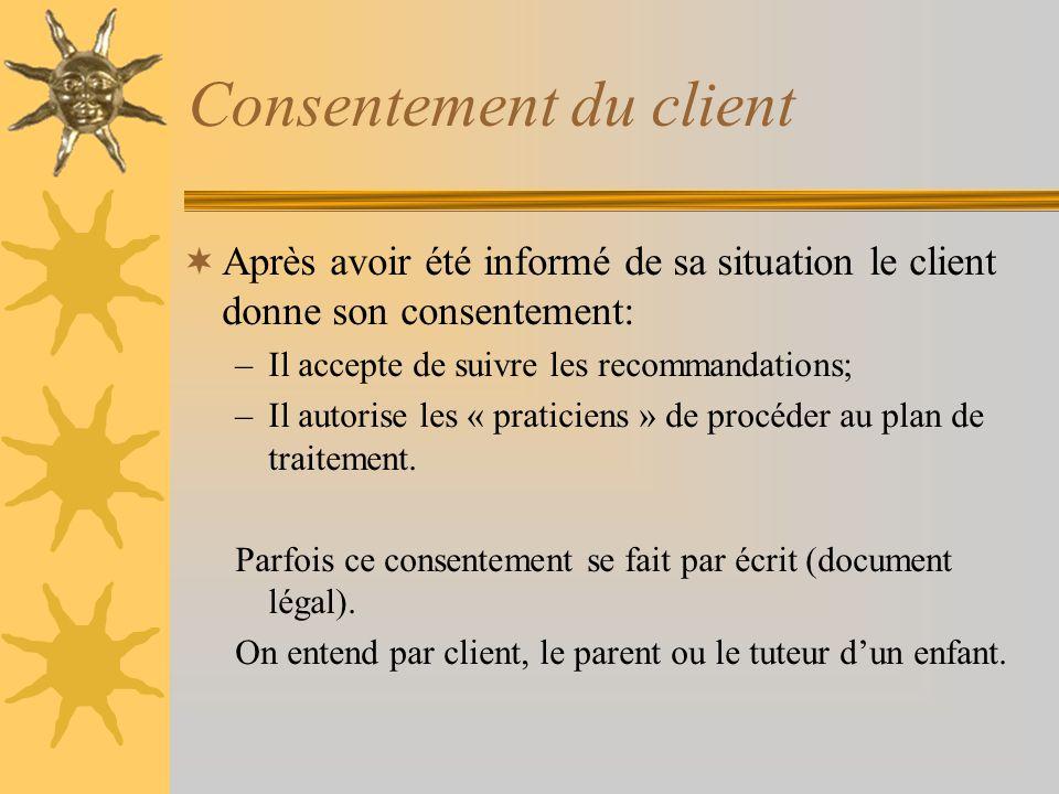 Consentement du client