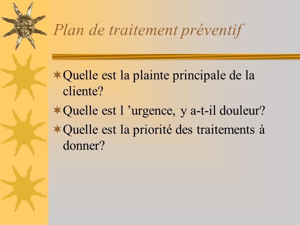 Plan de traitement préventif