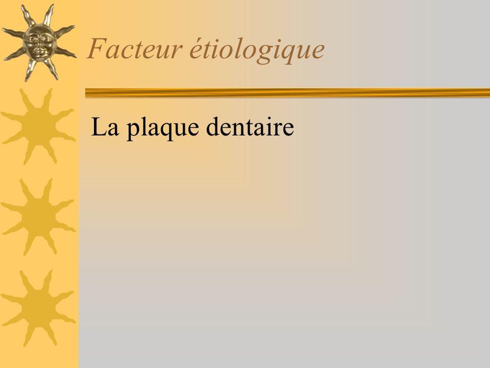 Facteur étiologique La plaque dentaire