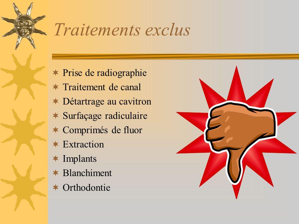 Traitements exclus Prise de radiographie Traitement de canal