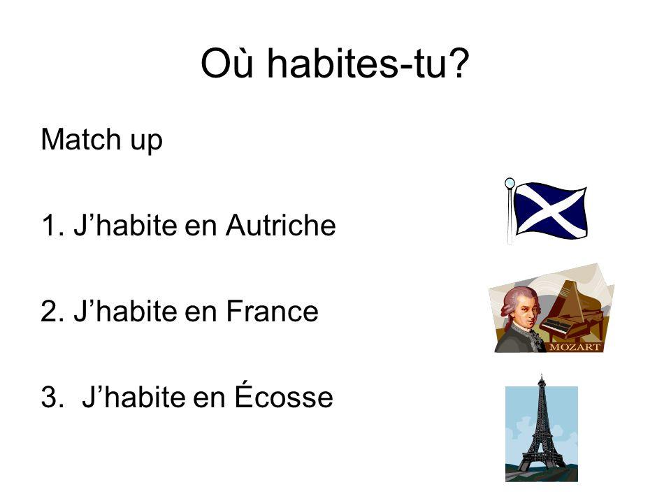 Où habites-tu Match up 1. J'habite en Autriche 2. J'habite en France