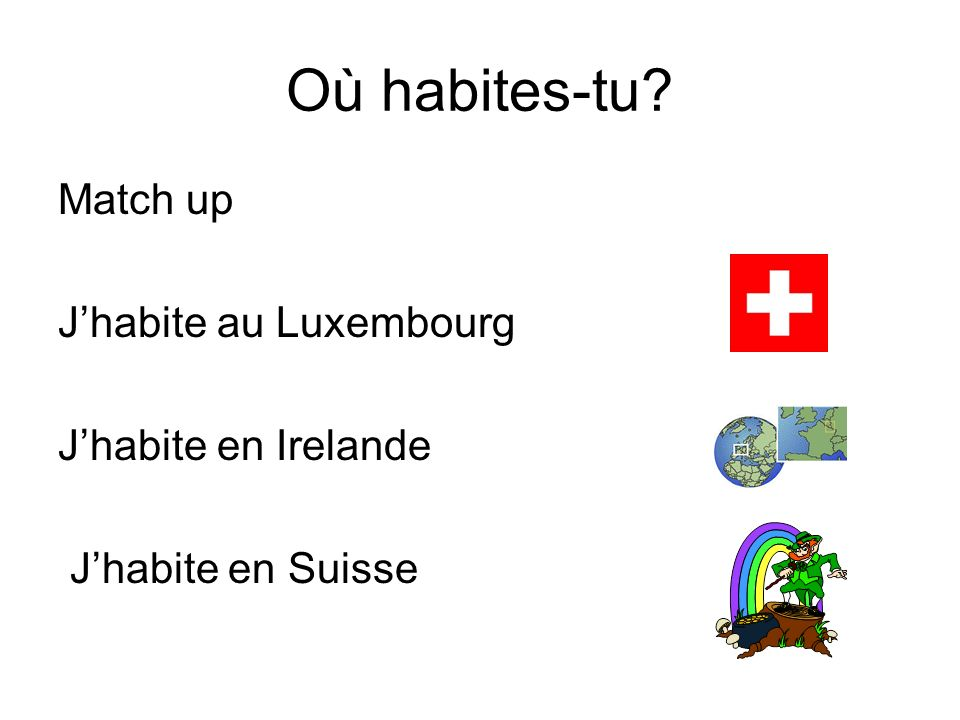 Où habites-tu Match up J'habite au Luxembourg J'habite en Irelande