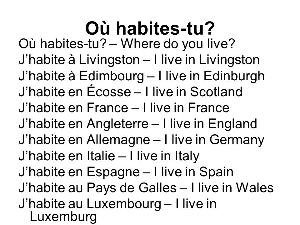Où habites-tu Où habites-tu – Where do you live