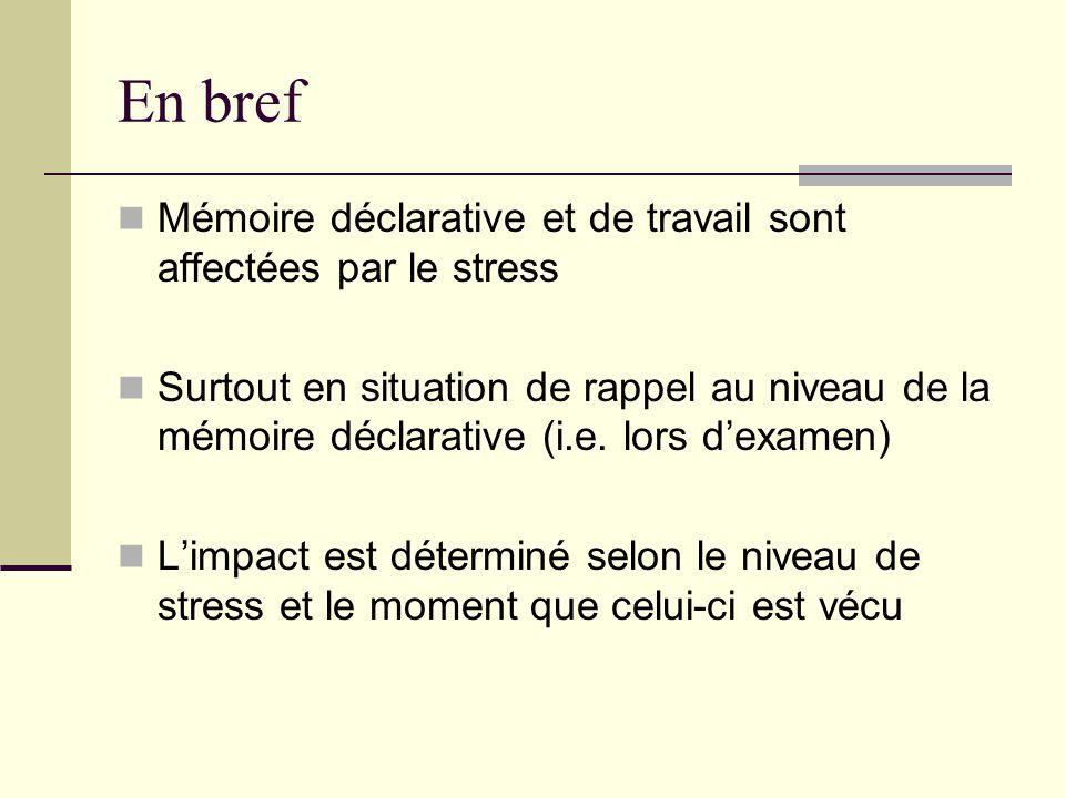 En bref Mémoire déclarative et de travail sont affectées par le stress