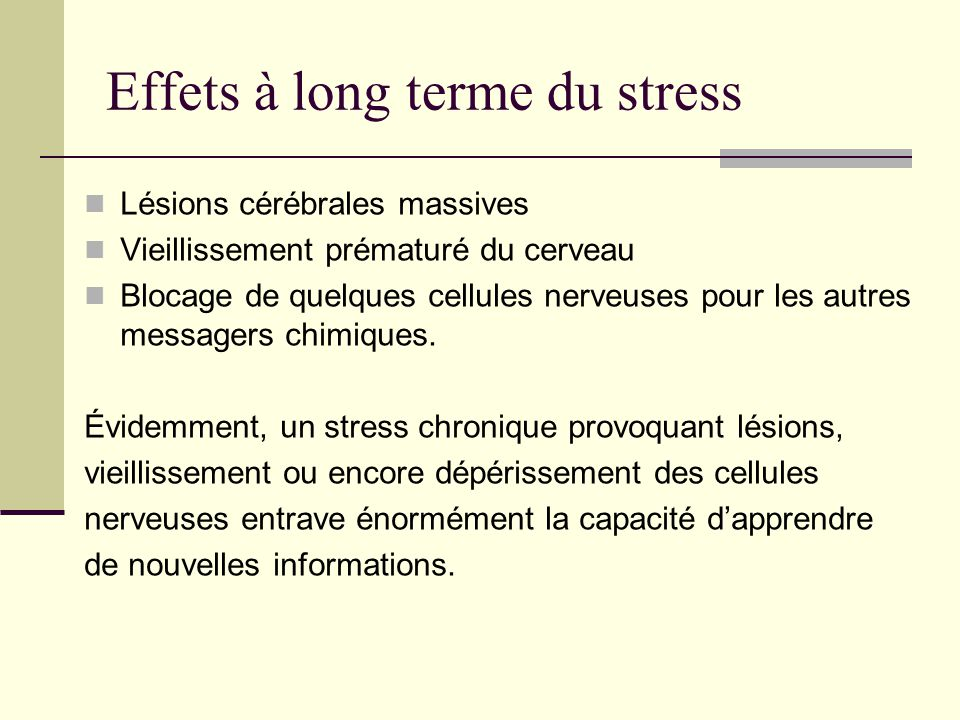 Effets à long terme du stress