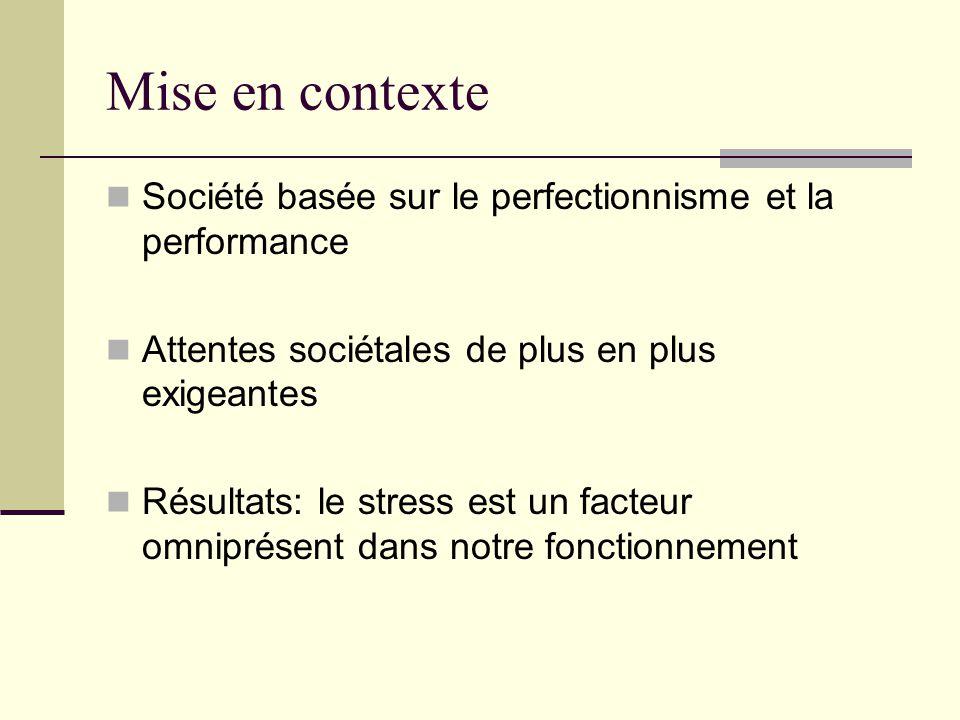 Mise en contexte Société basée sur le perfectionnisme et la performance. Attentes sociétales de plus en plus exigeantes.