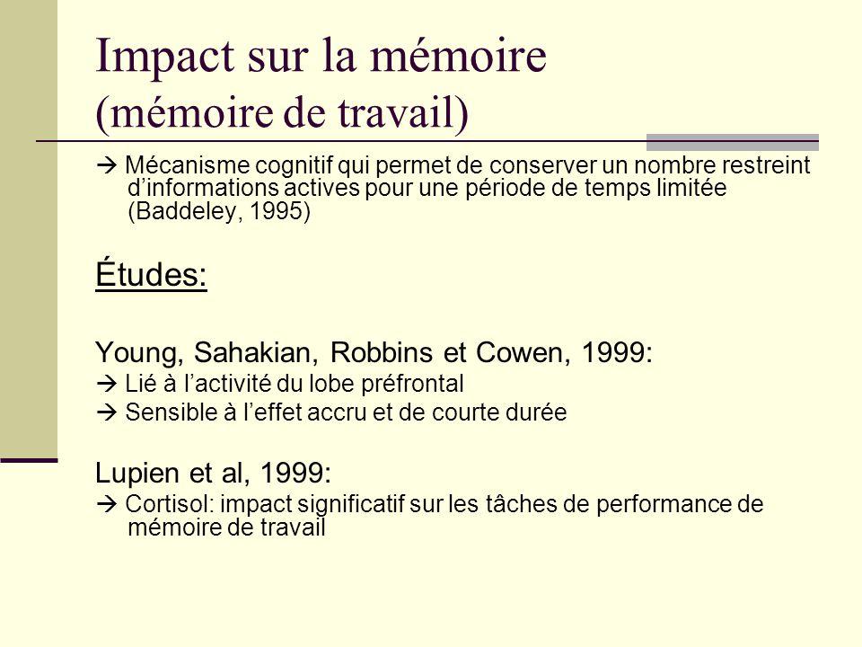 Impact sur la mémoire (mémoire de travail)