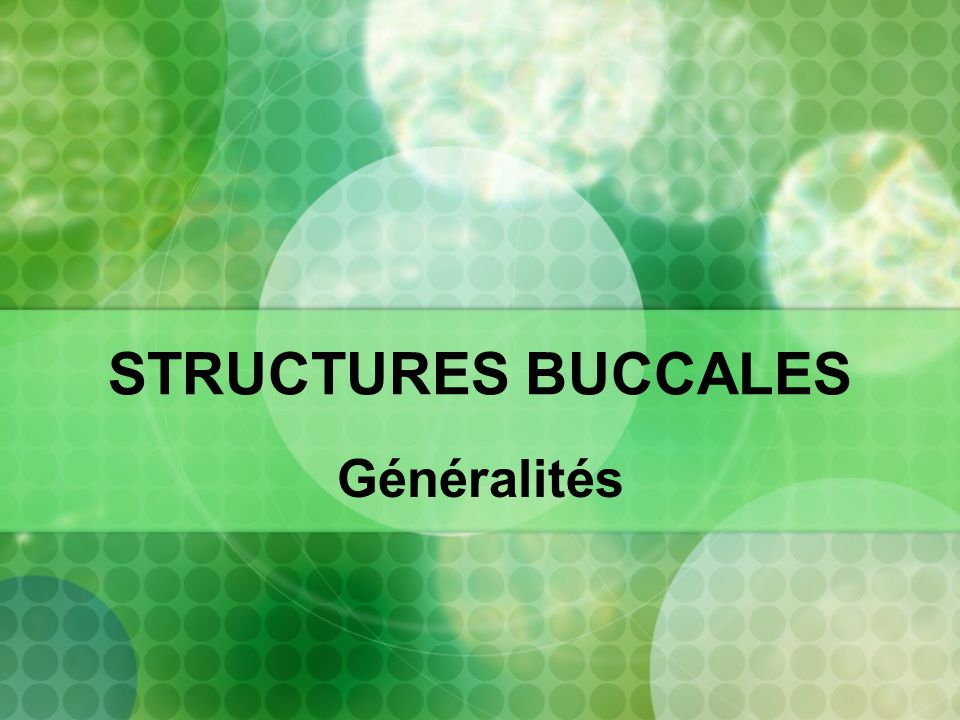 STRUCTURES BUCCALES Généralités