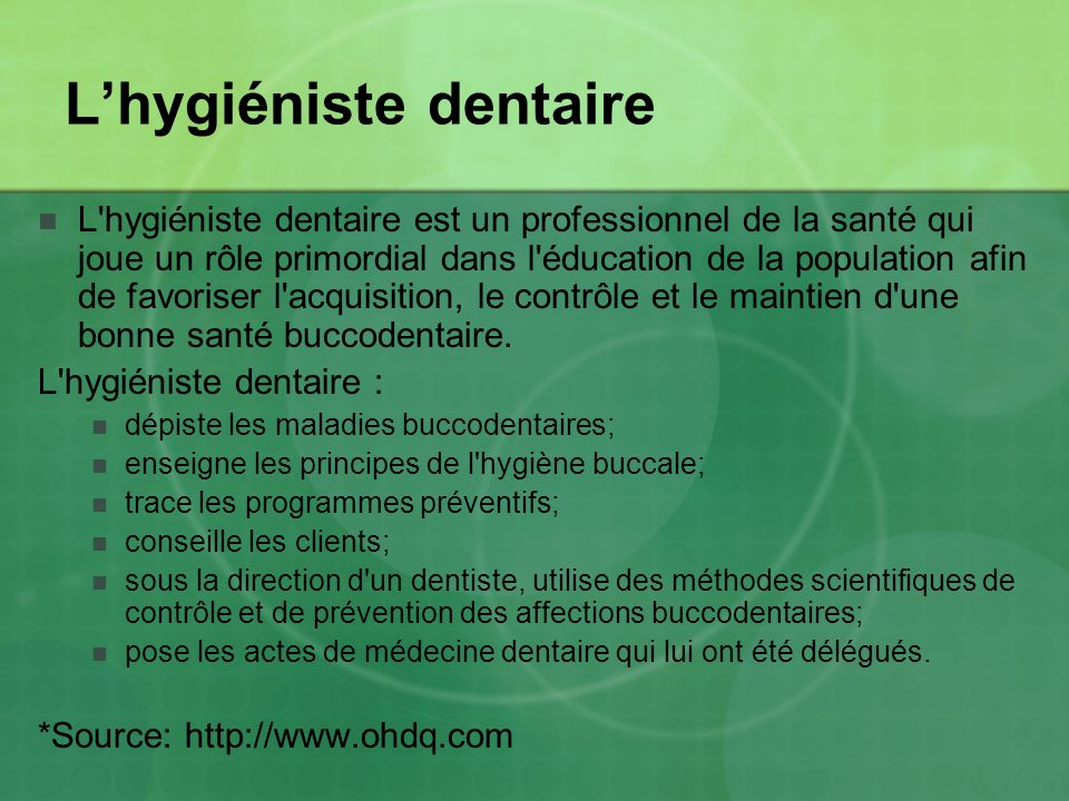 L'hygiéniste dentaire