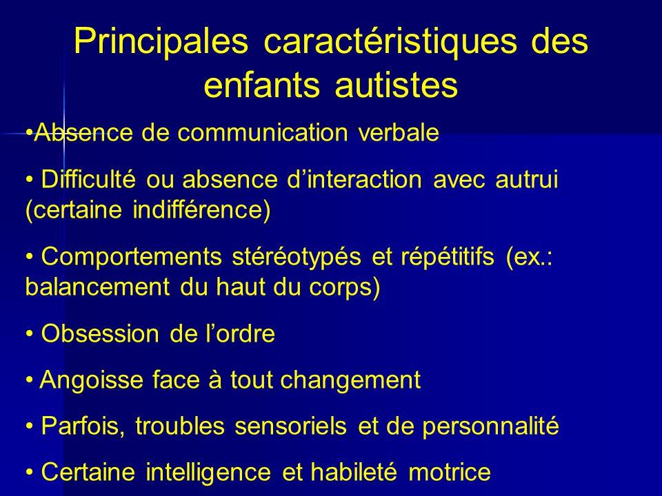 Principales caractéristiques des enfants autistes