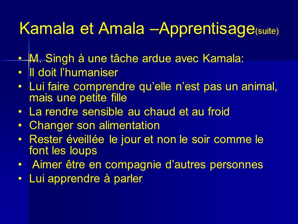 Kamala et Amala –Apprentisage(suite)
