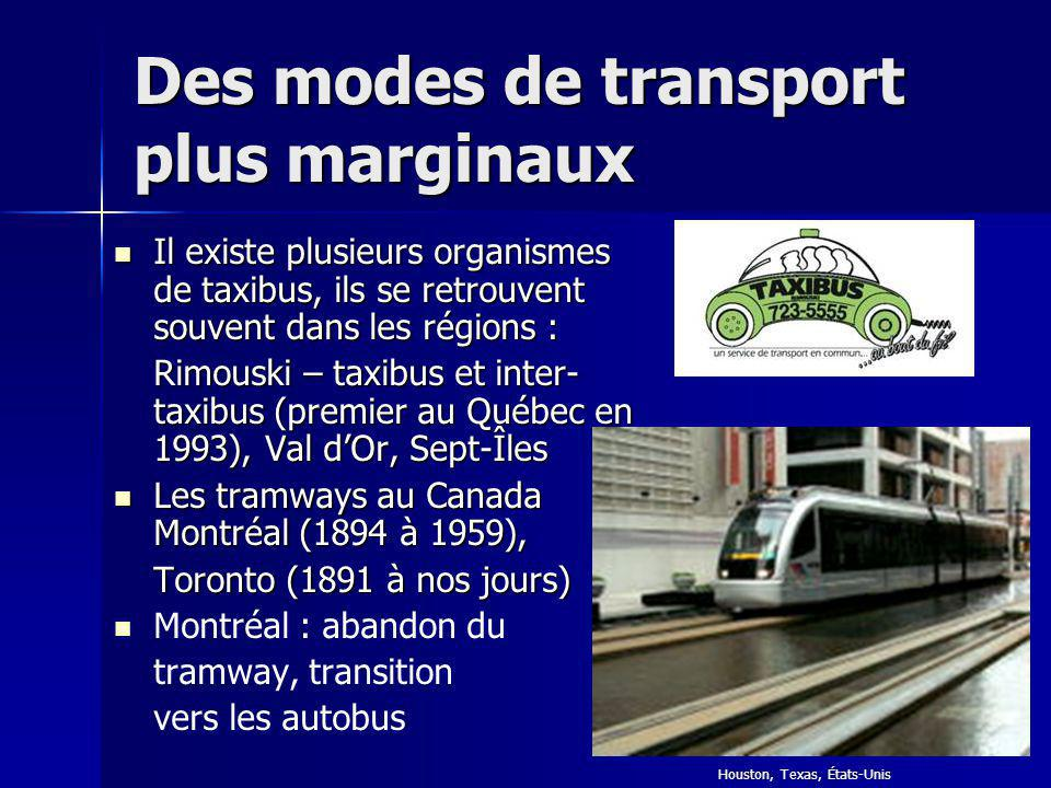 Des modes de transport plus marginaux
