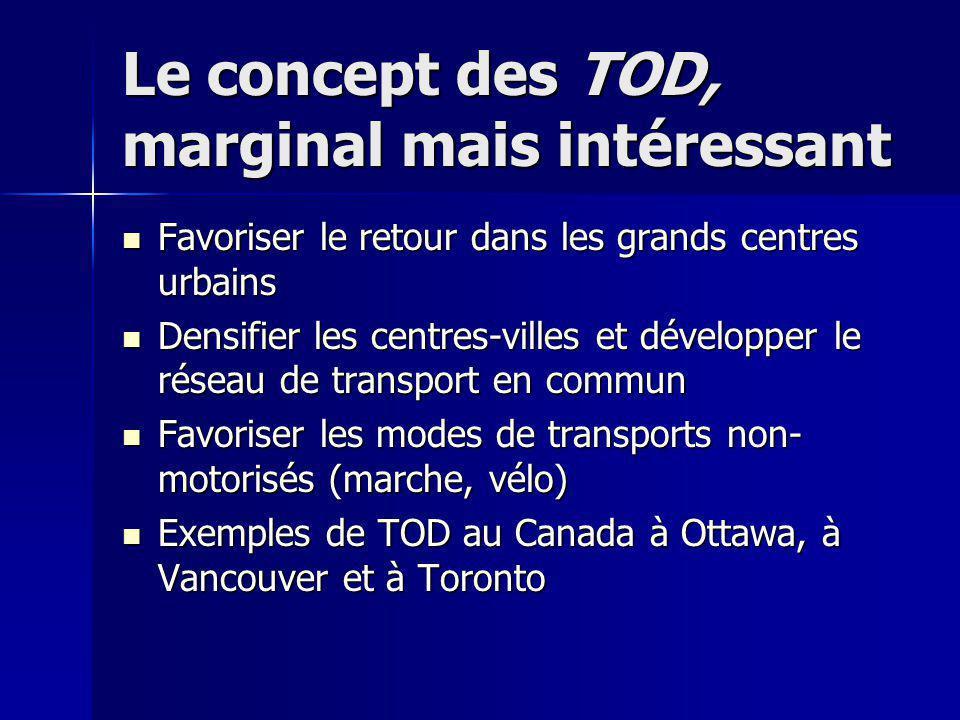 Le concept des TOD, marginal mais intéressant