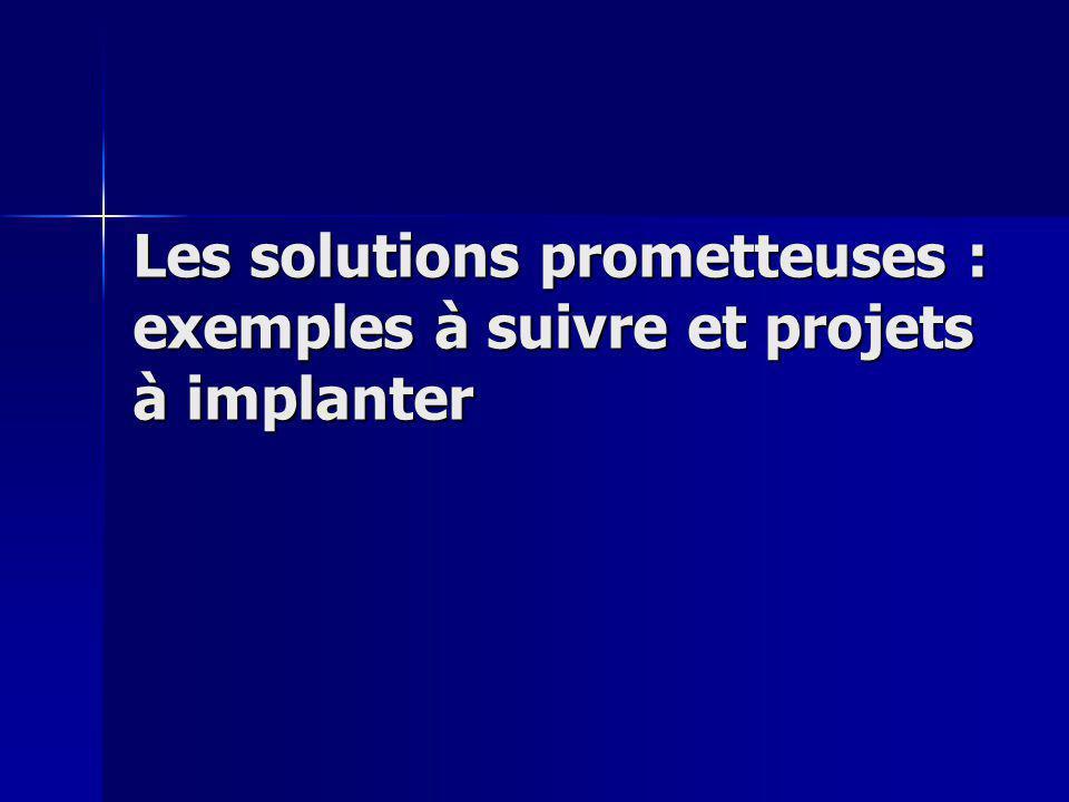 Les solutions prometteuses : exemples à suivre et projets à implanter