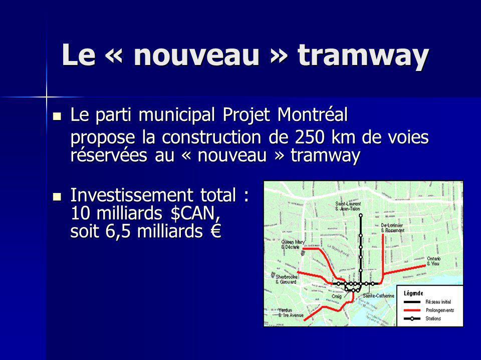 Le « nouveau » tramway Le parti municipal Projet Montréal