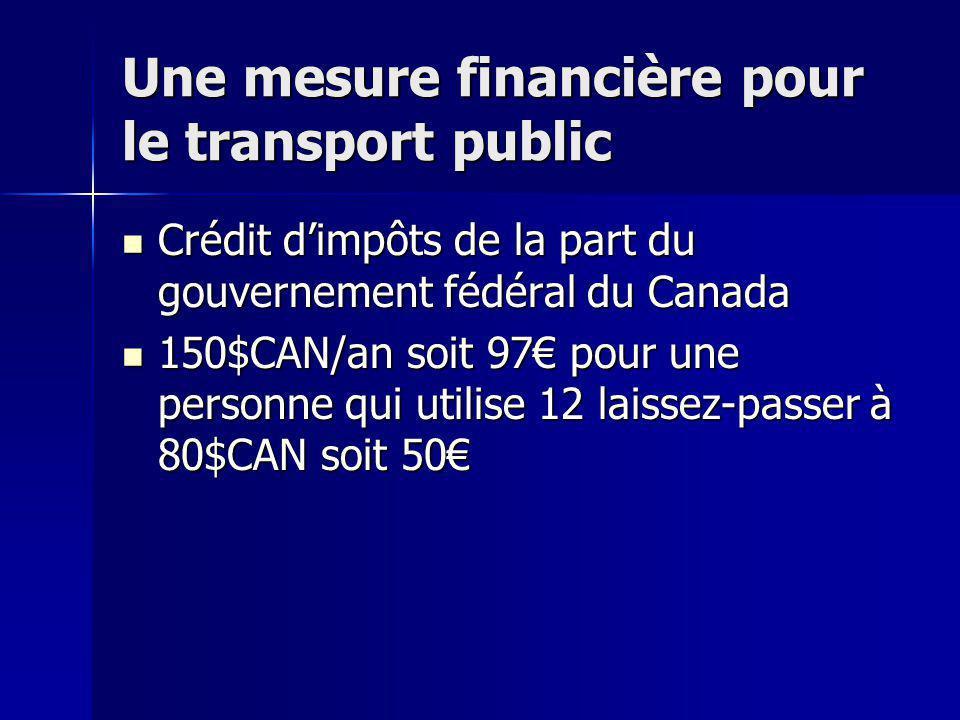 Une mesure financière pour le transport public