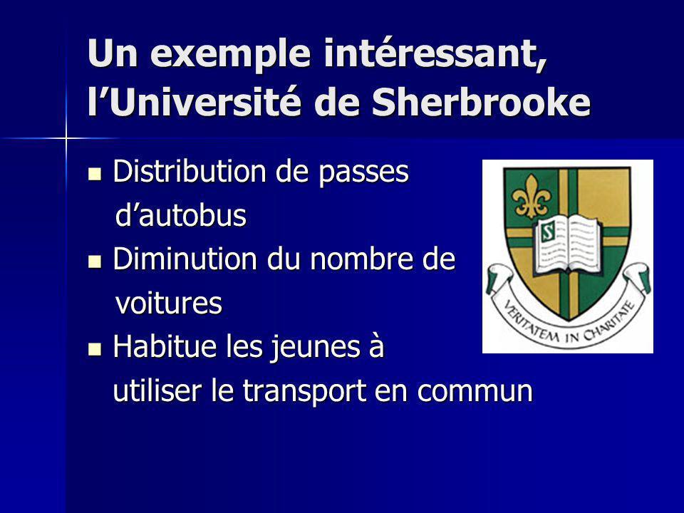 Un exemple intéressant, l'Université de Sherbrooke