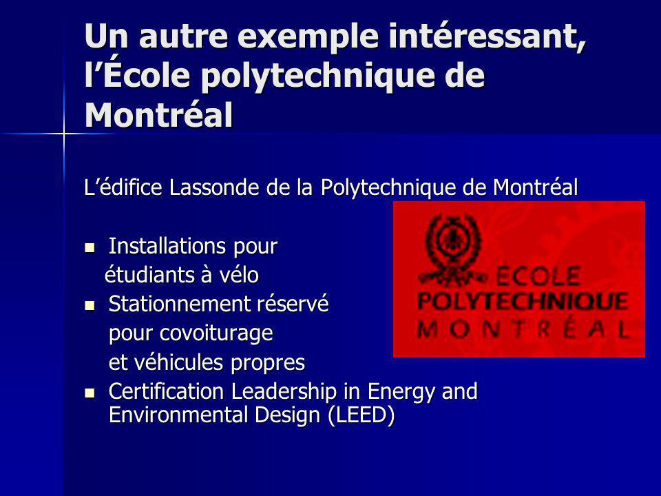 Un autre exemple intéressant, l'École polytechnique de Montréal