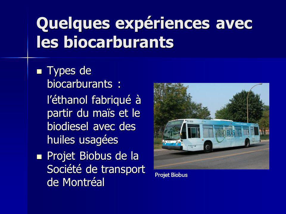 Quelques expériences avec les biocarburants