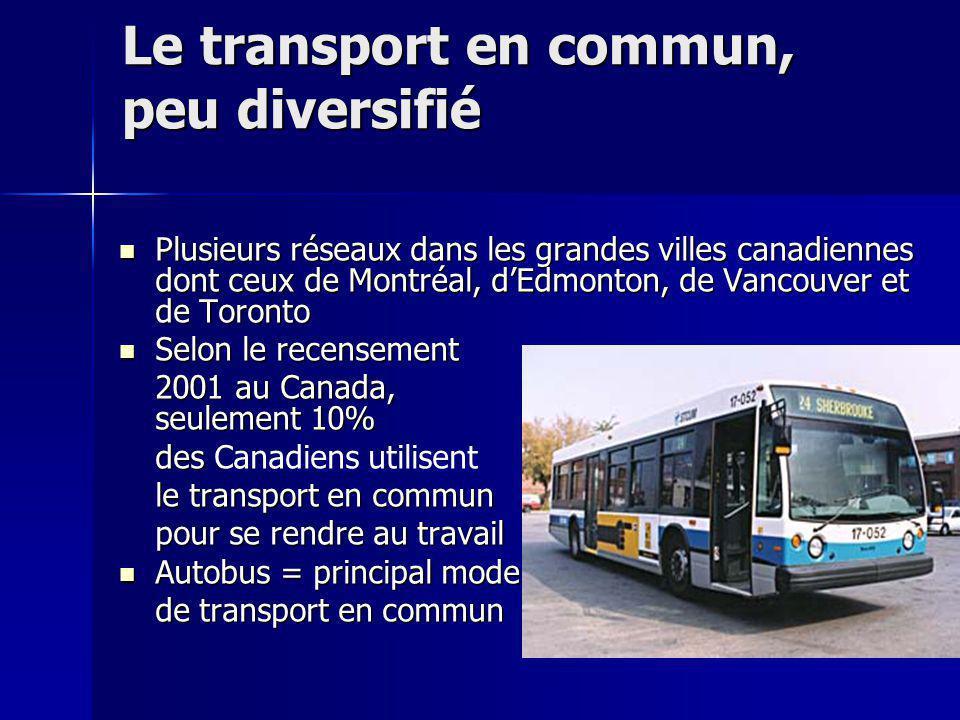 Le transport en commun, peu diversifié
