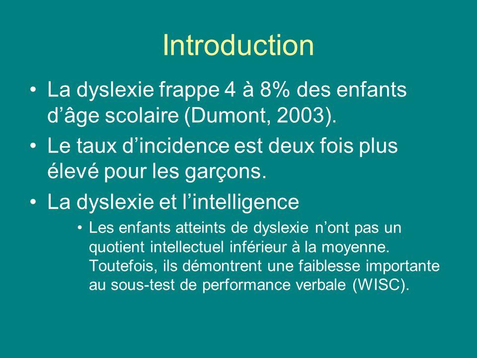 Introduction La dyslexie frappe 4 à 8% des enfants d'âge scolaire (Dumont, 2003). Le taux d'incidence est deux fois plus élevé pour les garçons.