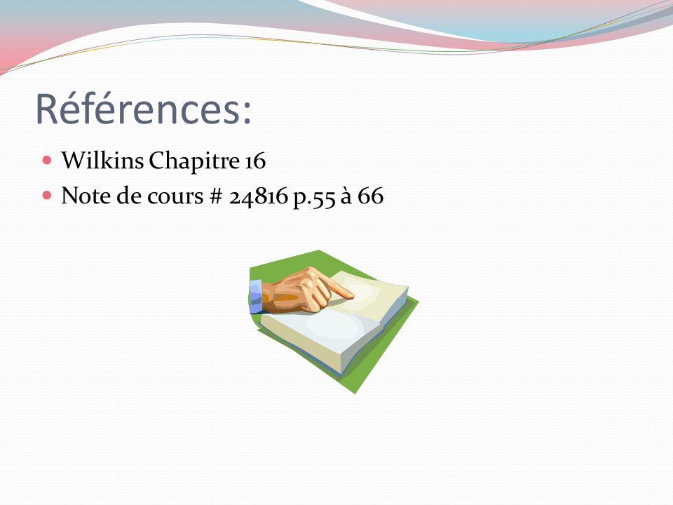Références: Wilkins Chapitre 16 Note de cours # 24816 p.55 à 66