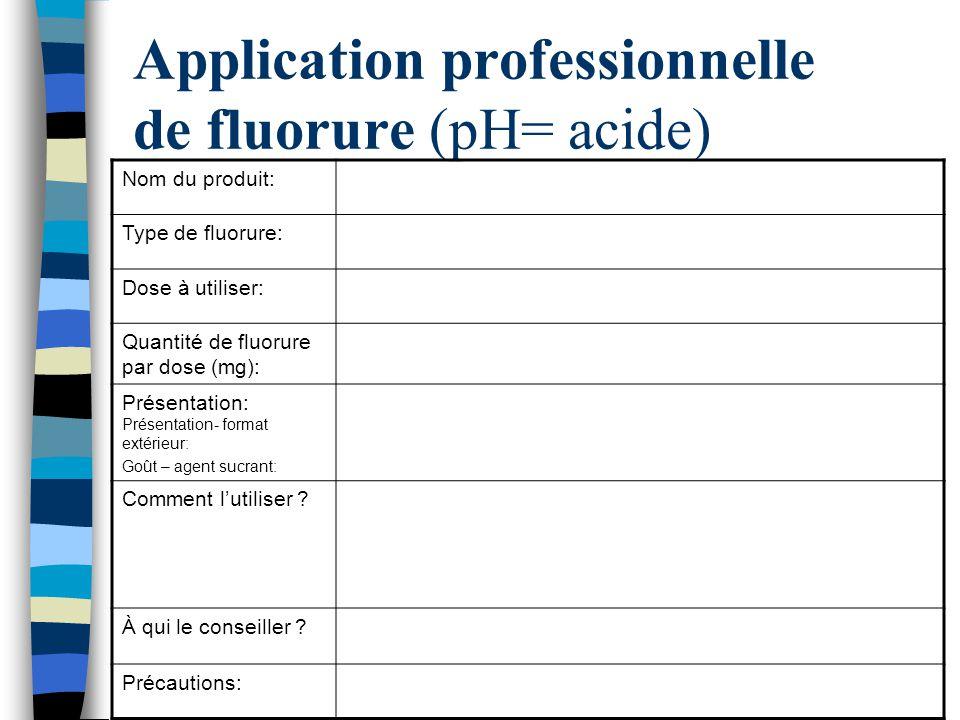 Application professionnelle de fluorure (pH= acide)