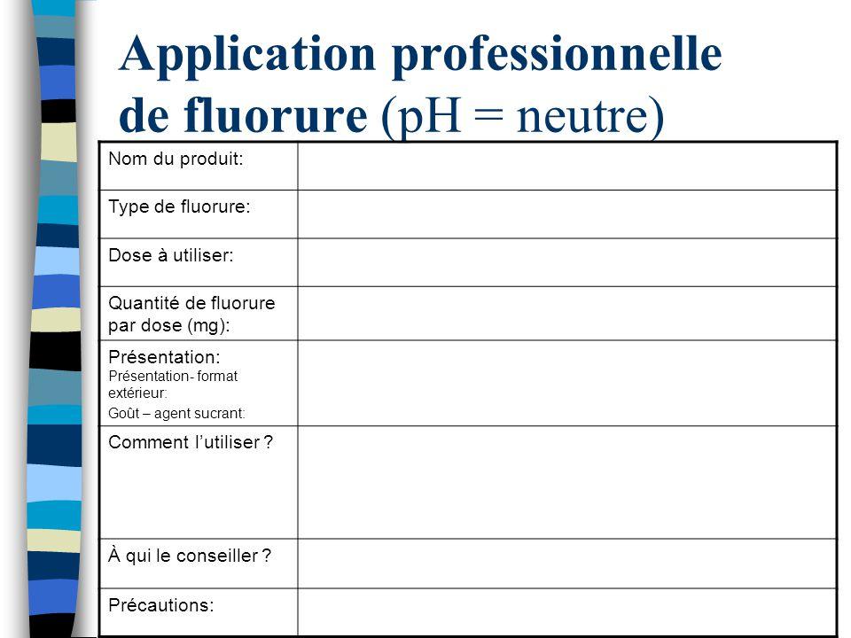 Application professionnelle de fluorure (pH = neutre)