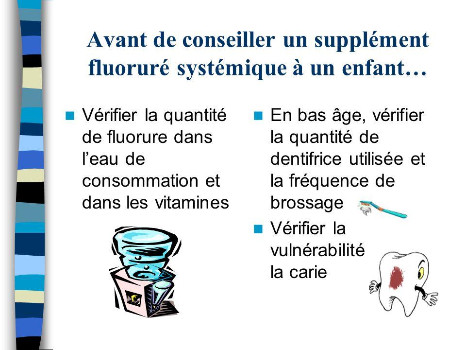 Avant de conseiller un supplément fluoruré systémique à un enfant…
