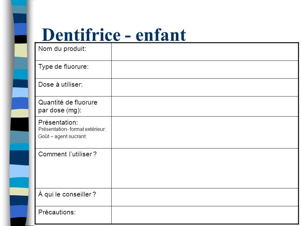 Dentifrice - enfant Nom du produit: Type de fluorure: Dose à utiliser: