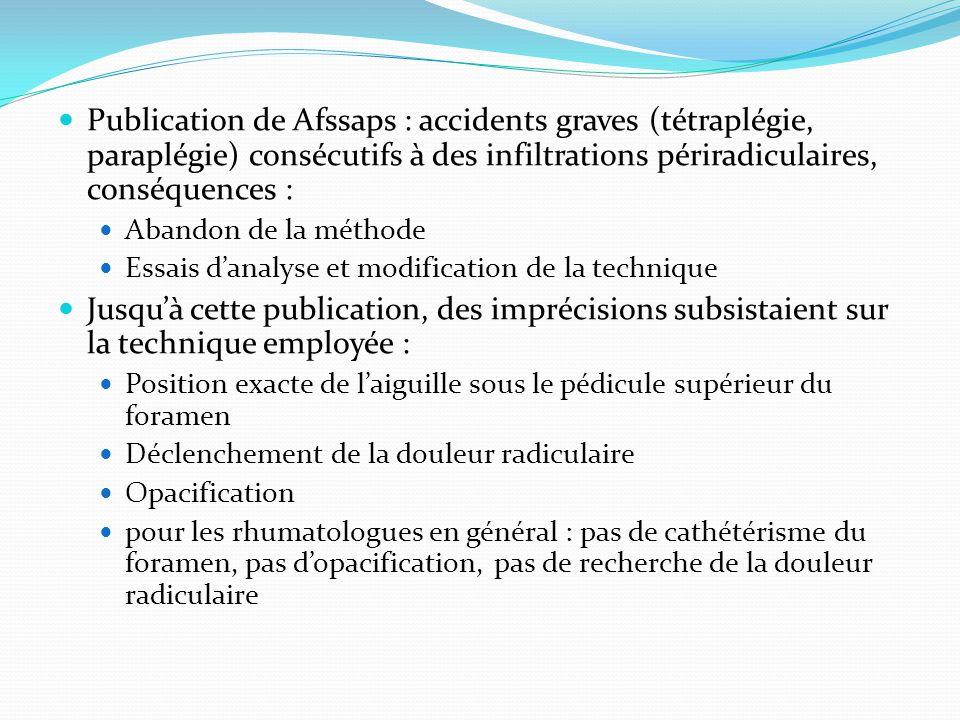 Publication de Afssaps : accidents graves (tétraplégie, paraplégie) consécutifs à des infiltrations périradiculaires, conséquences :