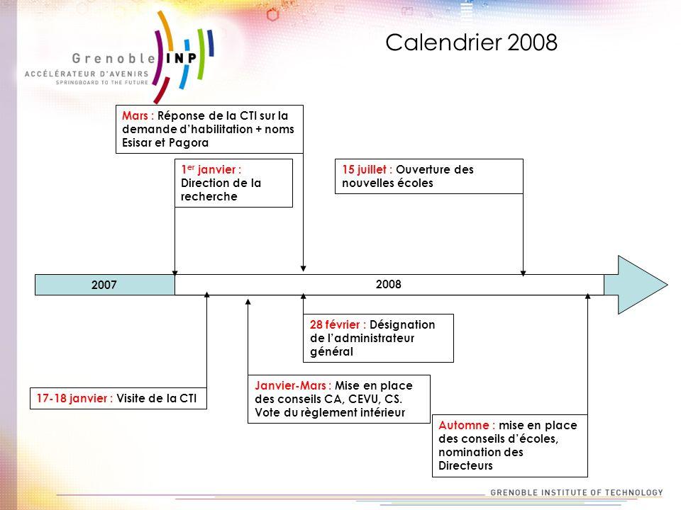Calendrier 2008 Mars : Réponse de la CTI sur la demande d'habilitation + noms Esisar et Pagora. 1er janvier : Direction de la recherche.