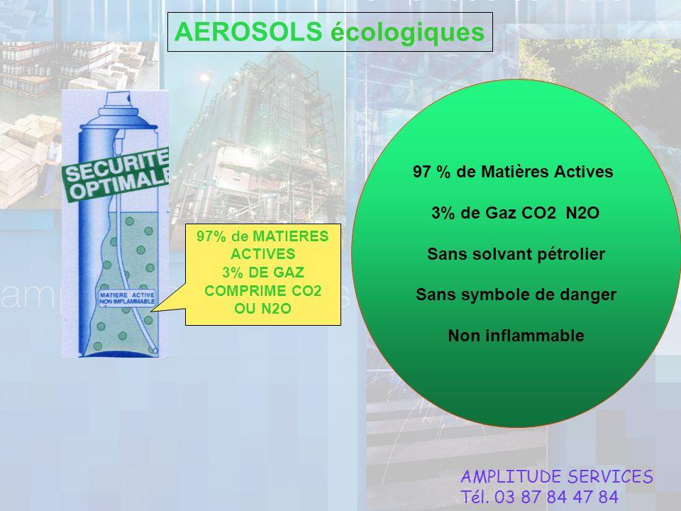 Sans solvant pétrolier 3% DE GAZ COMPRIME CO2 OU N2O