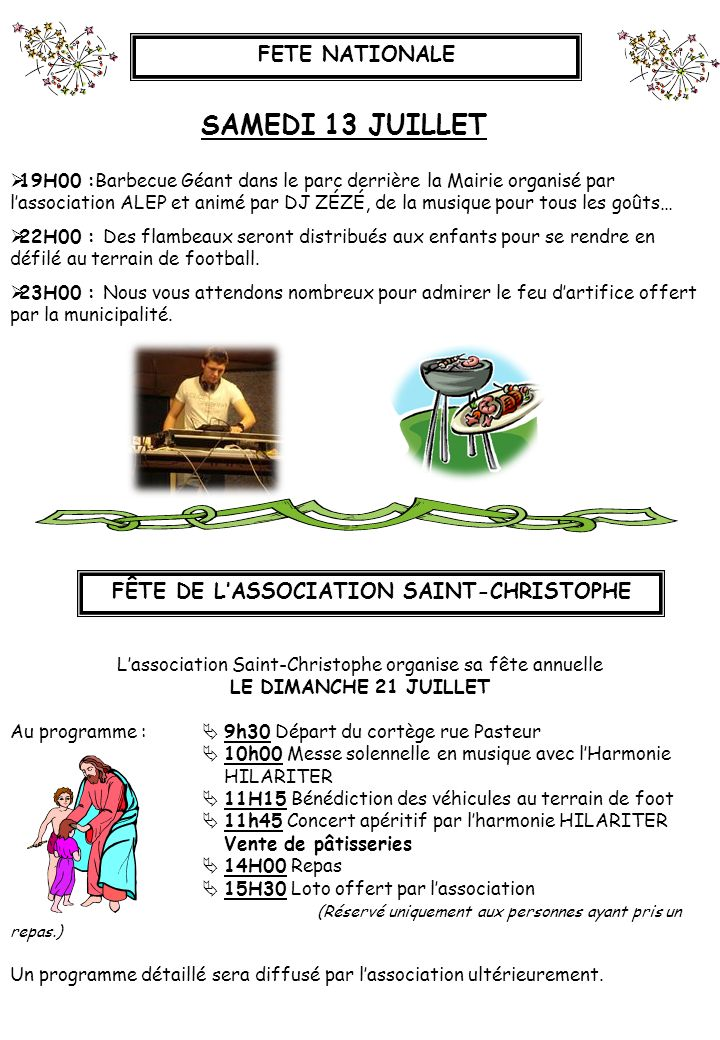 FÊTE DE L'ASSOCIATION SAINT-CHRISTOPHE
