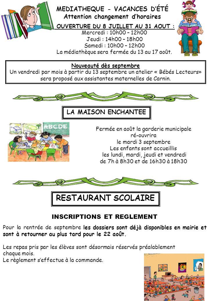 RESTAURANT SCOLAIRE MEDIATHEQUE - VACANCES D'ÉTÉ