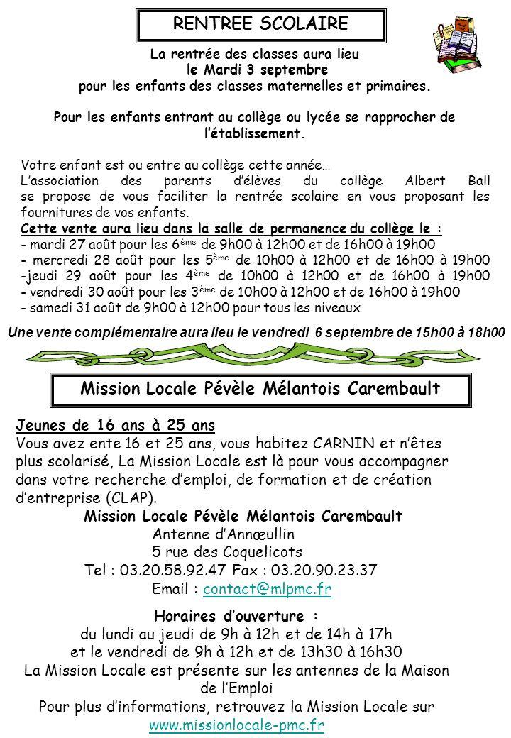 RENTREE SCOLAIRE Mission Locale Pévèle Mélantois Carembault