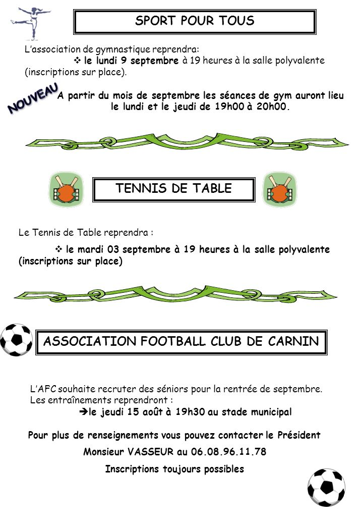 SPORT POUR TOUS TENNIS DE TABLE ASSOCIATION FOOTBALL CLUB DE CARNIN