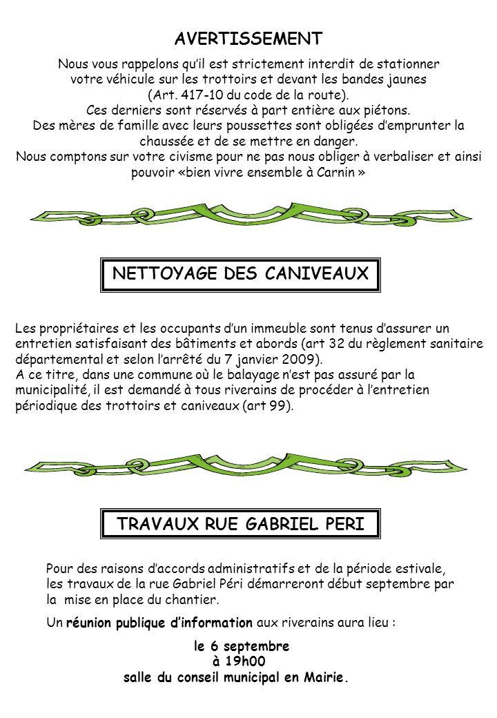 NETTOYAGE DES CANIVEAUX TRAVAUX RUE GABRIEL PERI