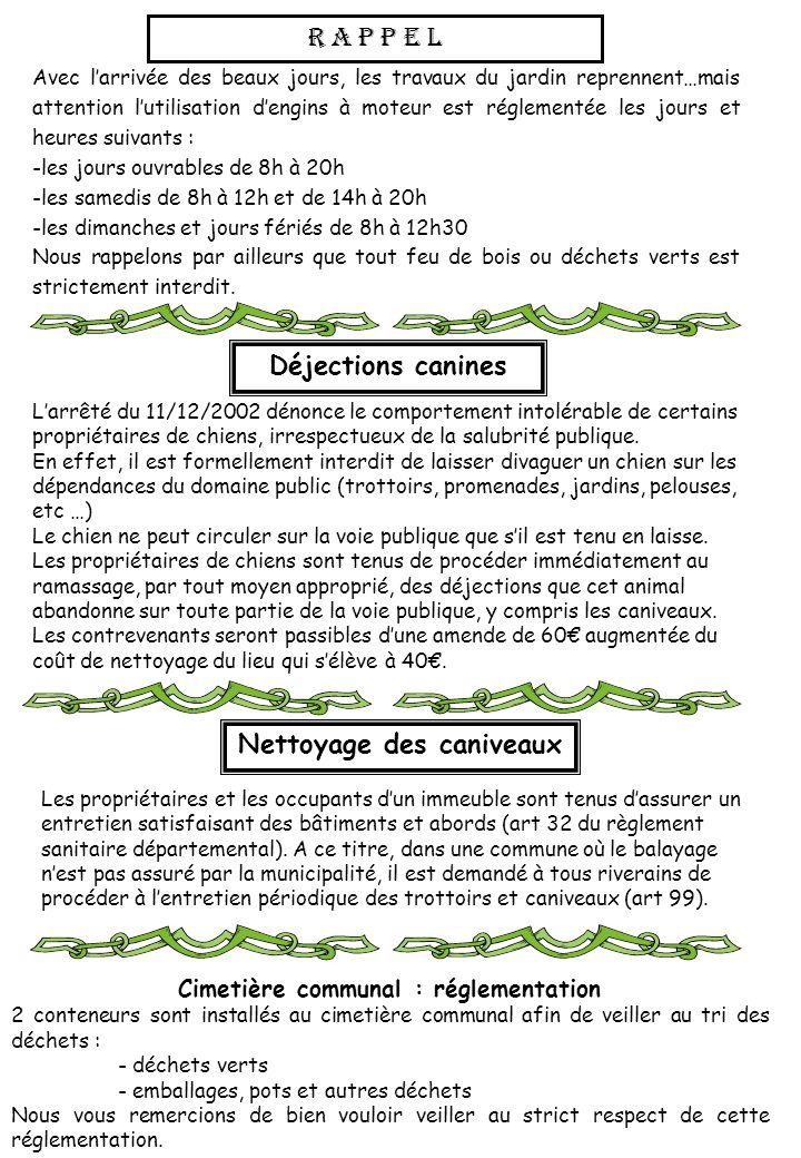 Nettoyage des caniveaux Cimetière communal : réglementation