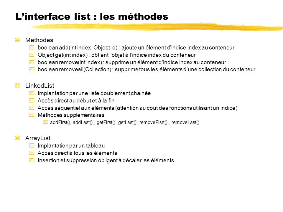 L'interface list : les méthodes