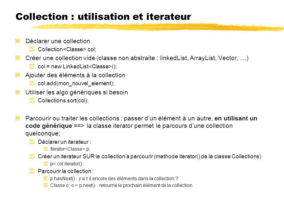 Collection : utilisation et iterateur