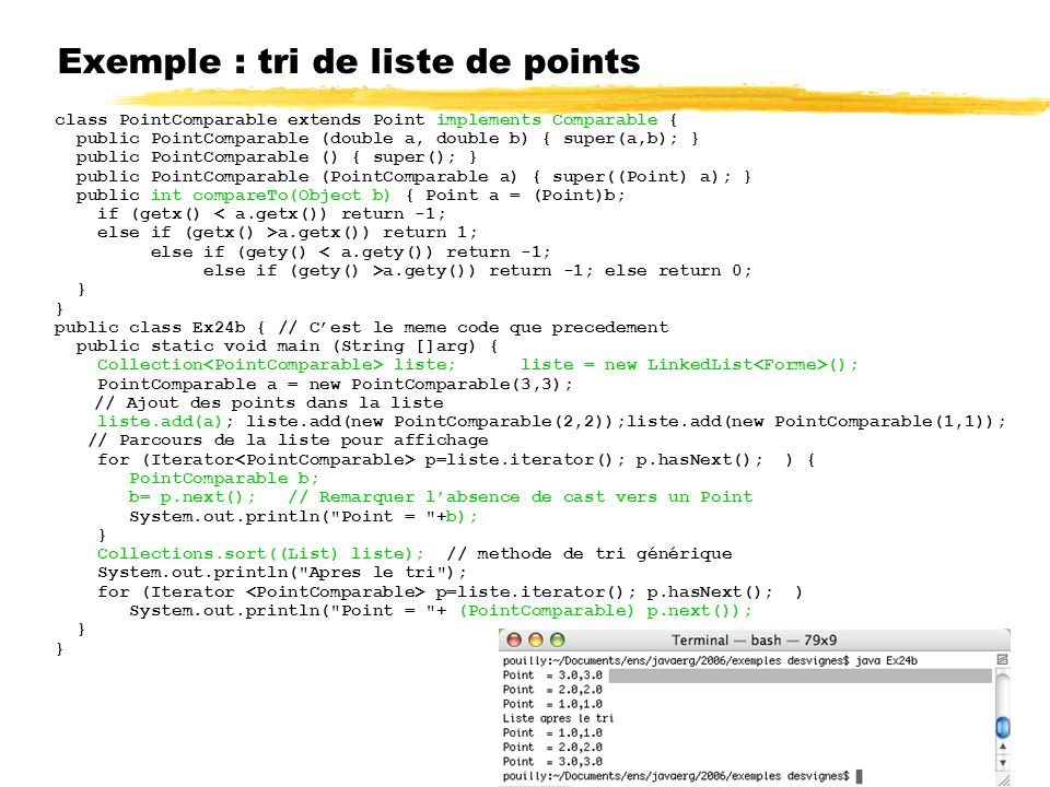 Exemple : tri de liste de points