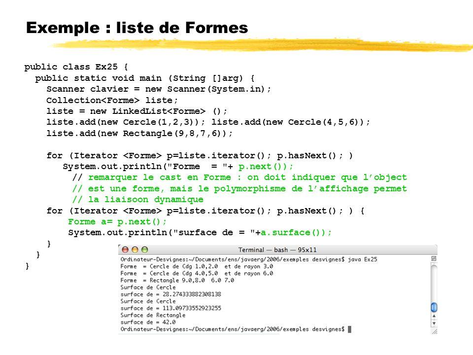 Exemple : liste de Formes