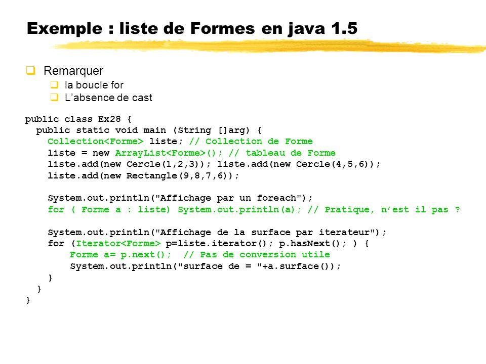 Exemple : liste de Formes en java 1.5