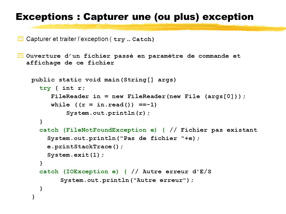 Exceptions : Capturer une (ou plus) exception