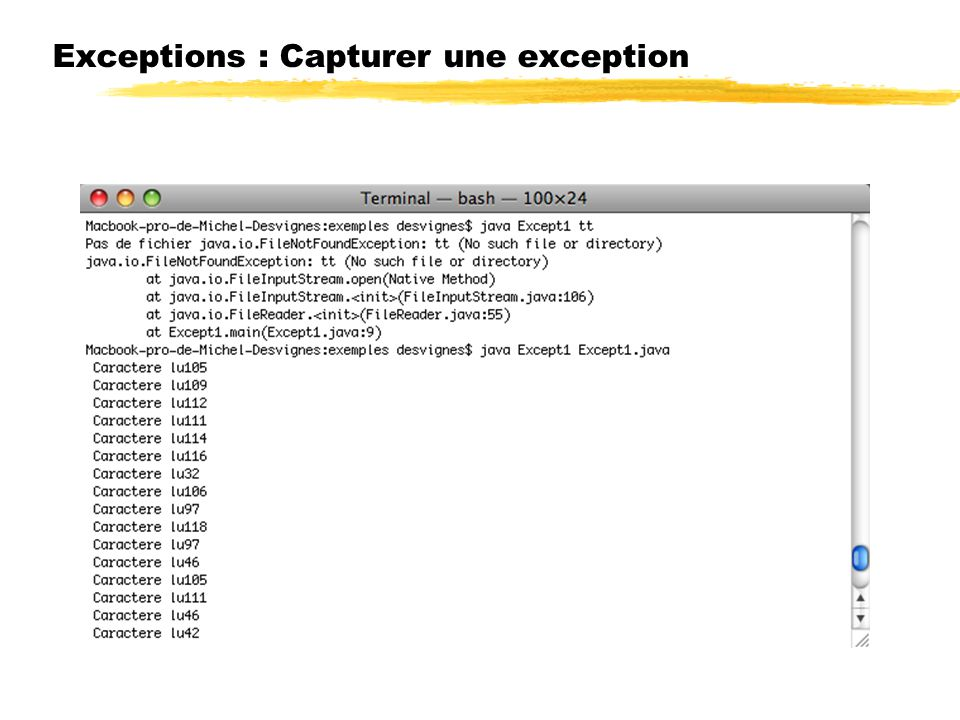 Exceptions : Capturer une exception