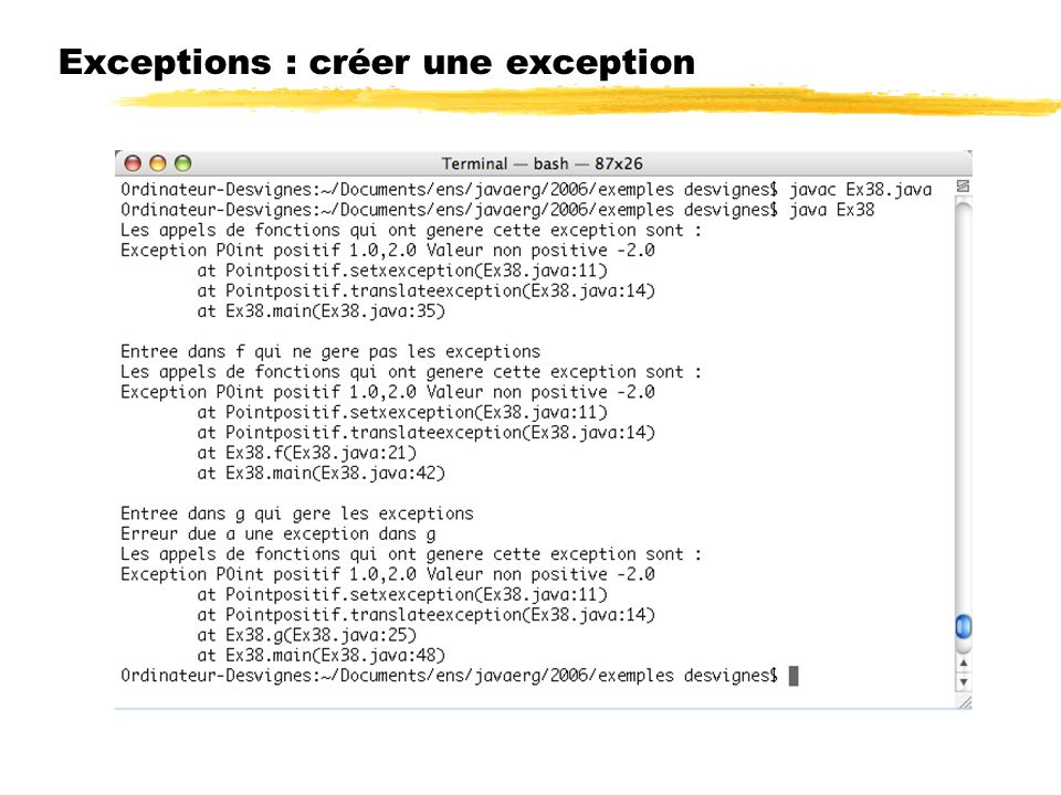 Exceptions : créer une exception
