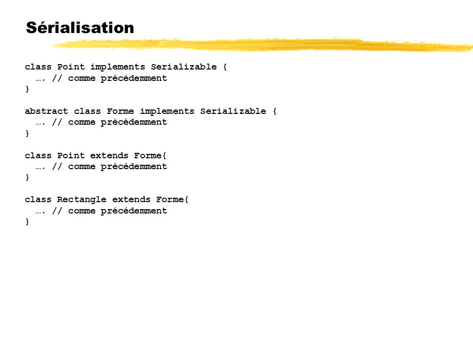 Sérialisation class Point implements Serializable {